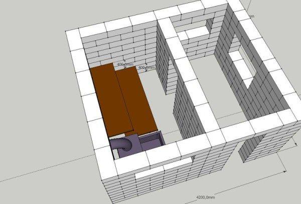 3D-проект бани из пеноблоков
