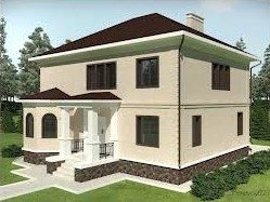 3Д-проект дома из пеноблока: вид снаружи