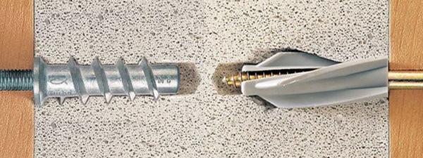 Для крепления к пенобетону необходимо использовать специальные дюбеля