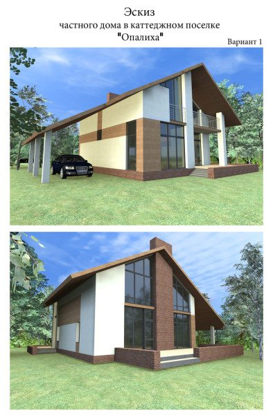 Эскиз дома, выполненный в графическом редакторе