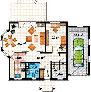 Графический план размещения комнат и мебели с указанием площади помещений