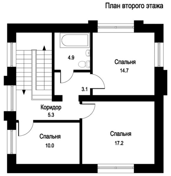 Лист из проекта дома – план второго этажа