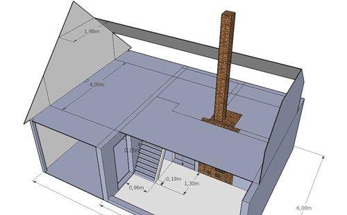 На фото приведен пример бани с габаритами 6 м2, где мансардное помещение имеет размеры 6х4 метра