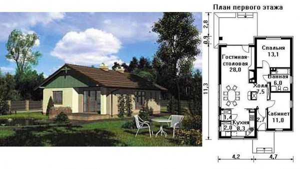 На фото проект пеноблочного дома.