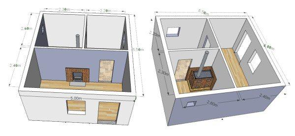 На первом этаже должны располагаться: парная, мойка и прихожая с лестницей на мансарду