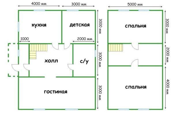 Наглядная планировка дома с мансардой из пеноблоков 7х9