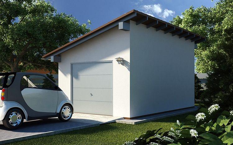 Небольшой гараж с односкатной металлической крышей