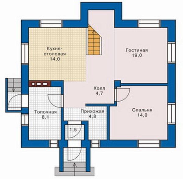 Один из вариантов планировки, где пространство разрезает коридор, обеспечивающий удобный доступ к комнатам