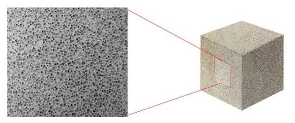 Пенобетонный блок имеет пористую структуру