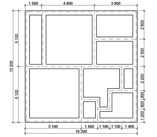 План фундамента на дом из пеноблоков 10х10м2