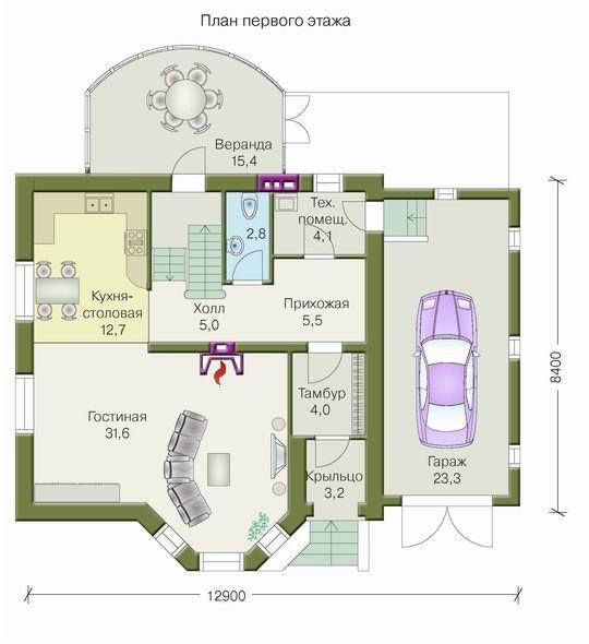 План загородного дома, выполненного из особого состава бетона