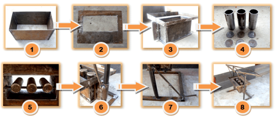 Поэтапная последовательность изготовления: 1-2-3 –связка основания и соединение всех элементов формы, 4-5 – установка пустообразователей, 6-7 – соединение с рамой, 8 – готовый станок