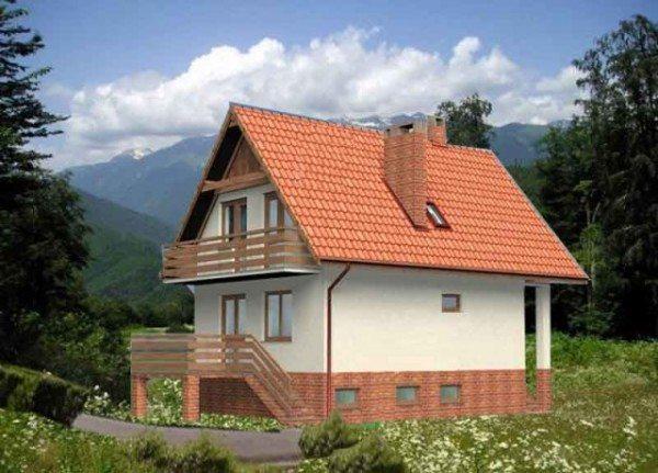 Пример макета дома, где удачно применено комбинирование блоков и кирпича