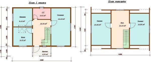 Пример планировки дома с мансардой