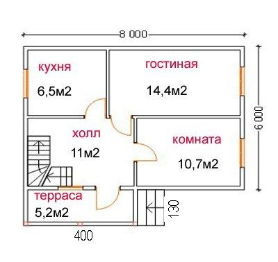 Проект дома 6х8 из пеноблоков с террасой