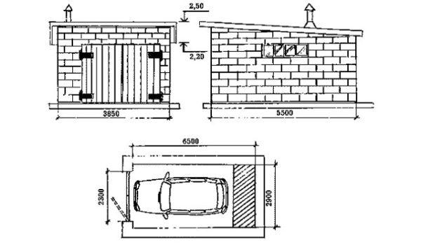Проект небольшого гаража с односкатной крышей