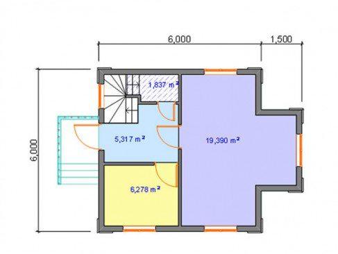 Проектный план дома из пеноблоков 6 на 6м