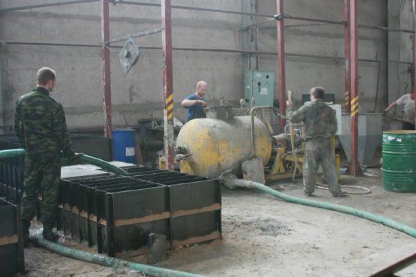 Работа цеха с производительностью 20 м³ готовой продукции в смену