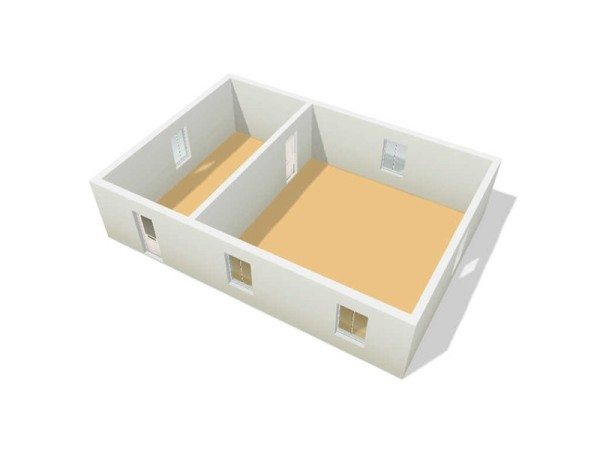 Схема 3D несущих стен и перегородок (внешних и внутренних) пеноблочного дома 8 х 12 метров, выполненная в системе трехмерного моделирования «floorplanner»