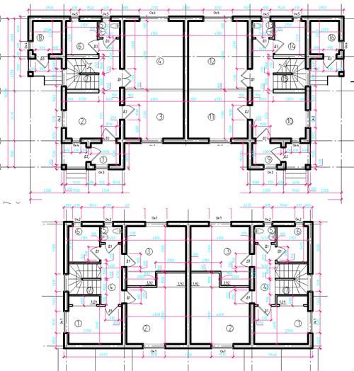 Типовой план размещения комнат с нанесенными выносными линиями для указания размеров