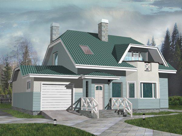 Макет коттеджа с гаражом и мансардным этажом, выполненный в интересном цветовом решении