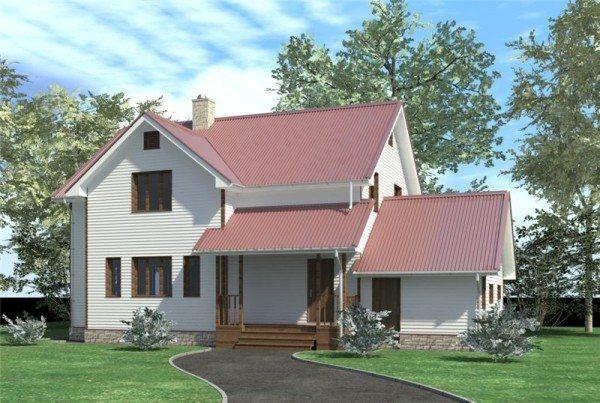 На фото – модель частного дома из пеноблока, с отделкой сайдингом