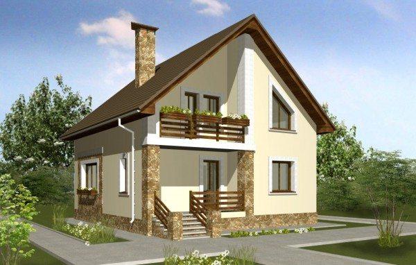Проекты домов 8 на 8 из пеноблоков с мансардой, гаражом: видео