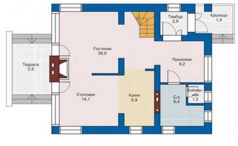 Планировка дома с террасой