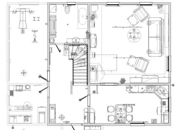 Вариант подробного плана первого этажа