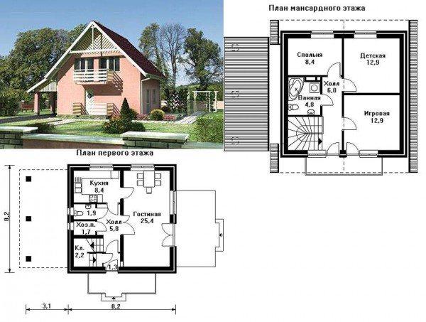 Вариант проекта с указанием размеров здания и фото готовой конструкции
