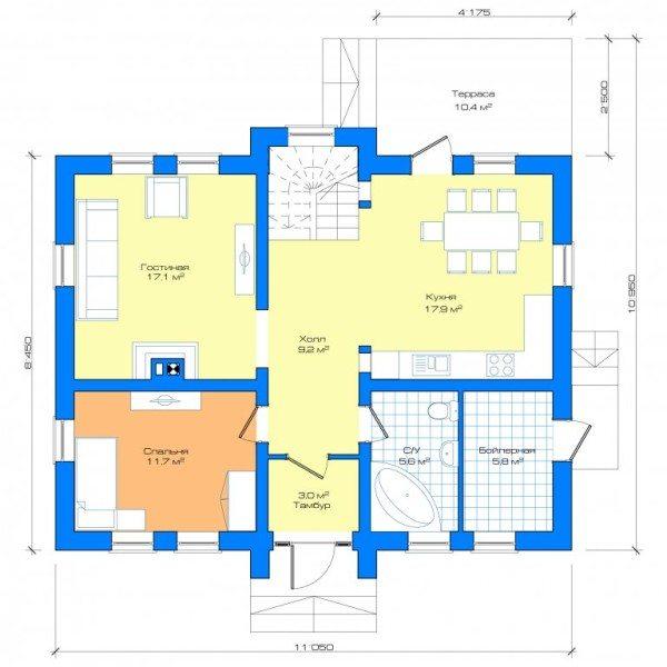 Внутренняя планировка обычно также включена в готовый проект
